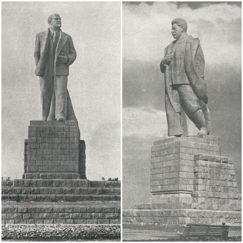Памятники Ленину и Сталину наканале им.Москвы.