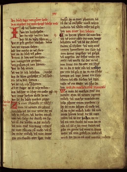 Первая страница немецкой «Книги хороших блюд», около 1350 г.