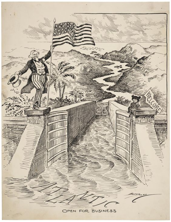 Clifford Berryman cartoon celebrating the opening of the Panama Canal August 15 1914.jpg