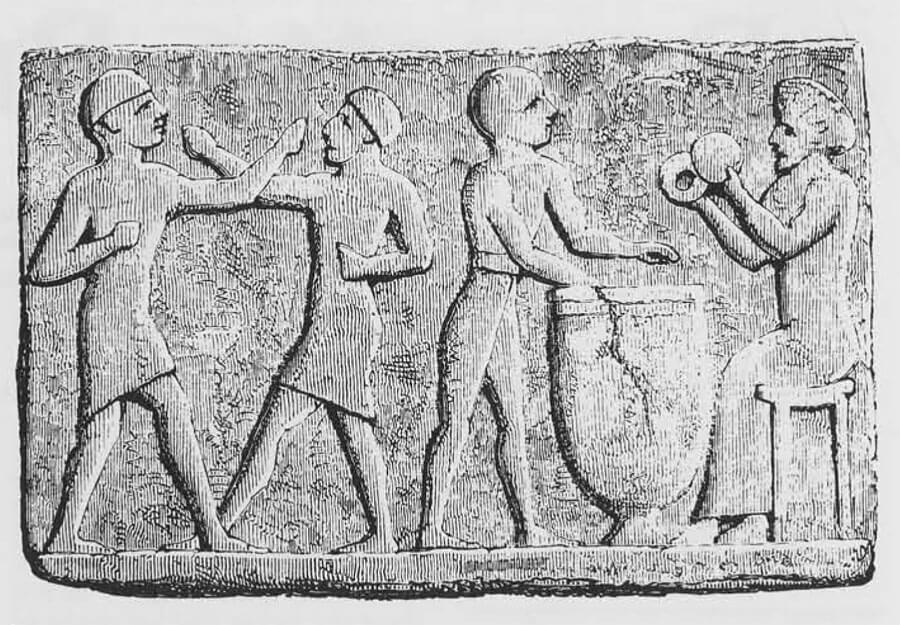 Вавилонский рисунок, изображающий людей за водными процедурами.