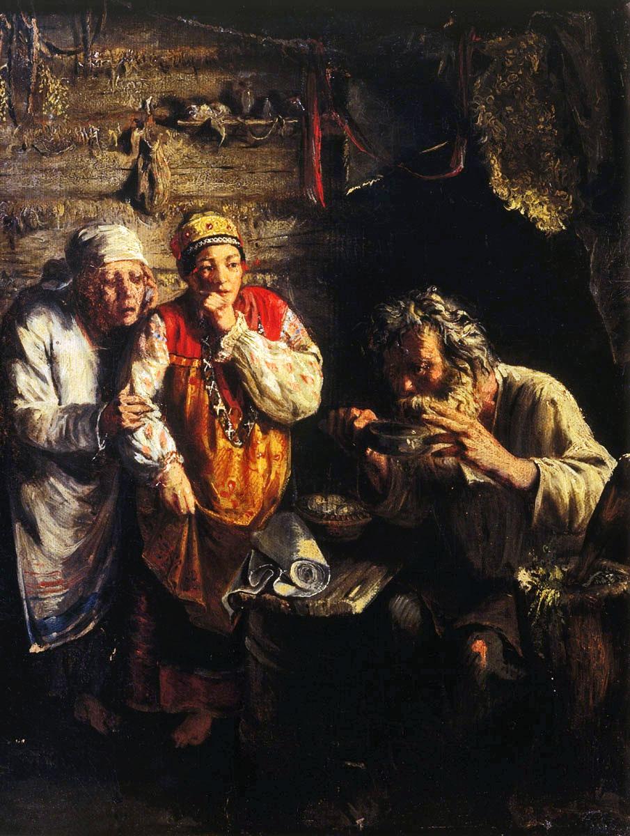 «Деревенский знахарь», худ. Г. Мясоедов, 1860. <br>