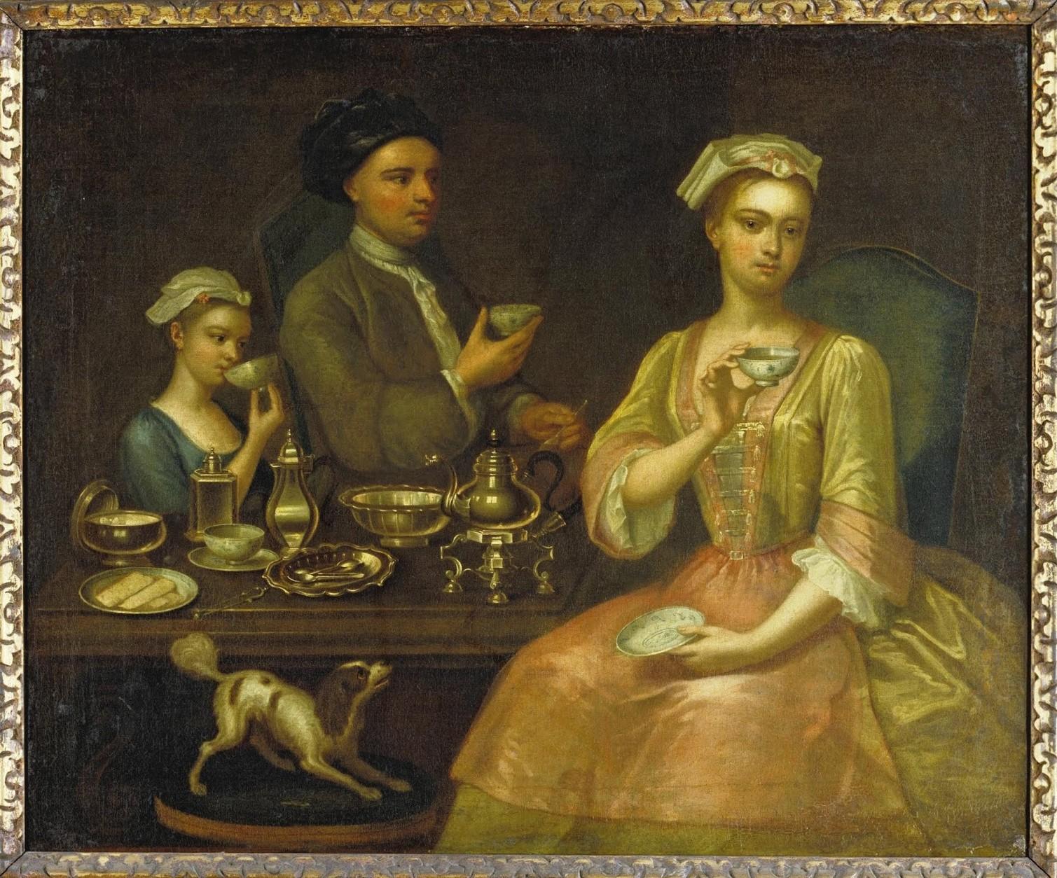 Семейный портрет за чаепитием, 1727 год. <br>
