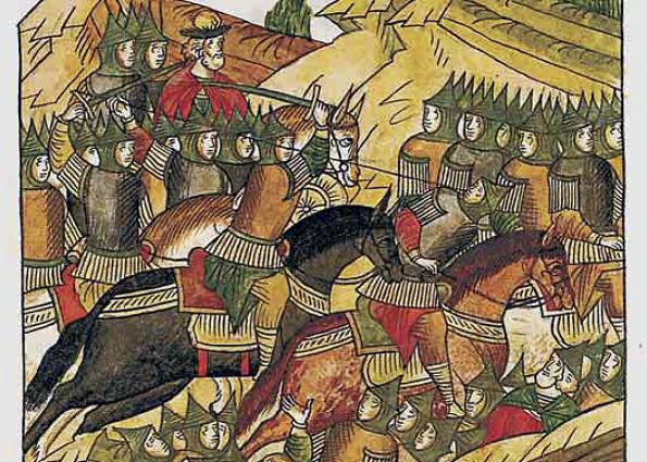 Битва на реке Воже. Древнерусская миниатюра.