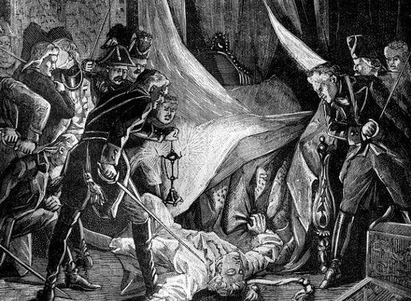Убийство императора Павла I. Французская гравюра, 1880-е годы.