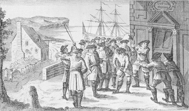 Королевские гвардейцы и контрабандисты чая, гравюра XVIII в. <br>