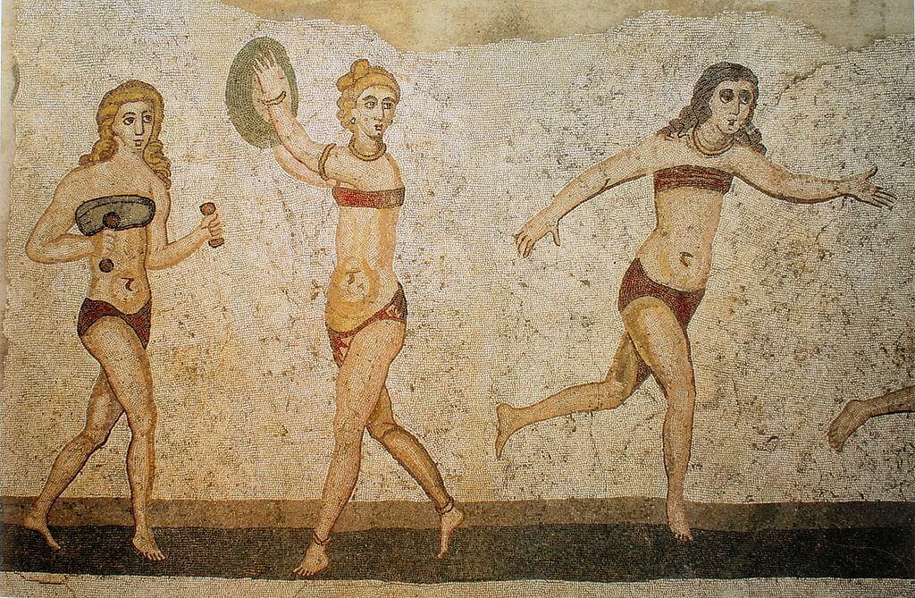 Мозаика, изображающая спортсменок. Вилла-дель-Казале, первая четверть 4-го века н. э.