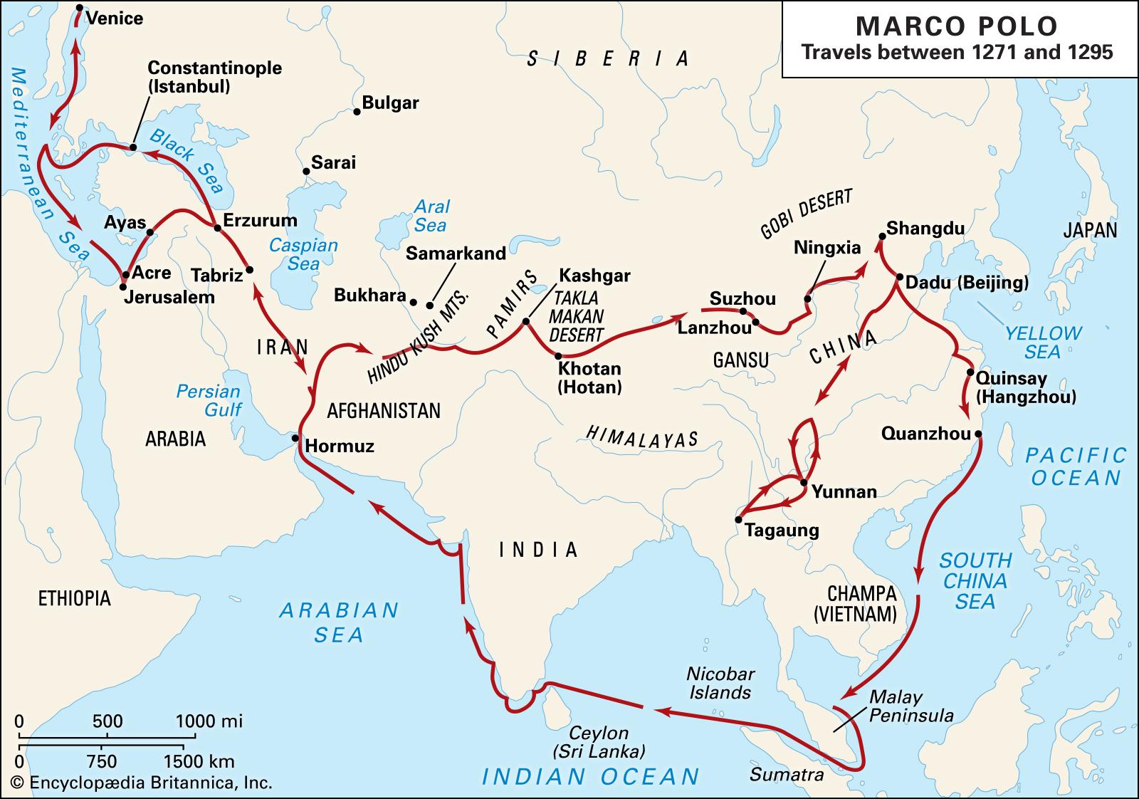 маршрут путешествий марко поло фото показывает