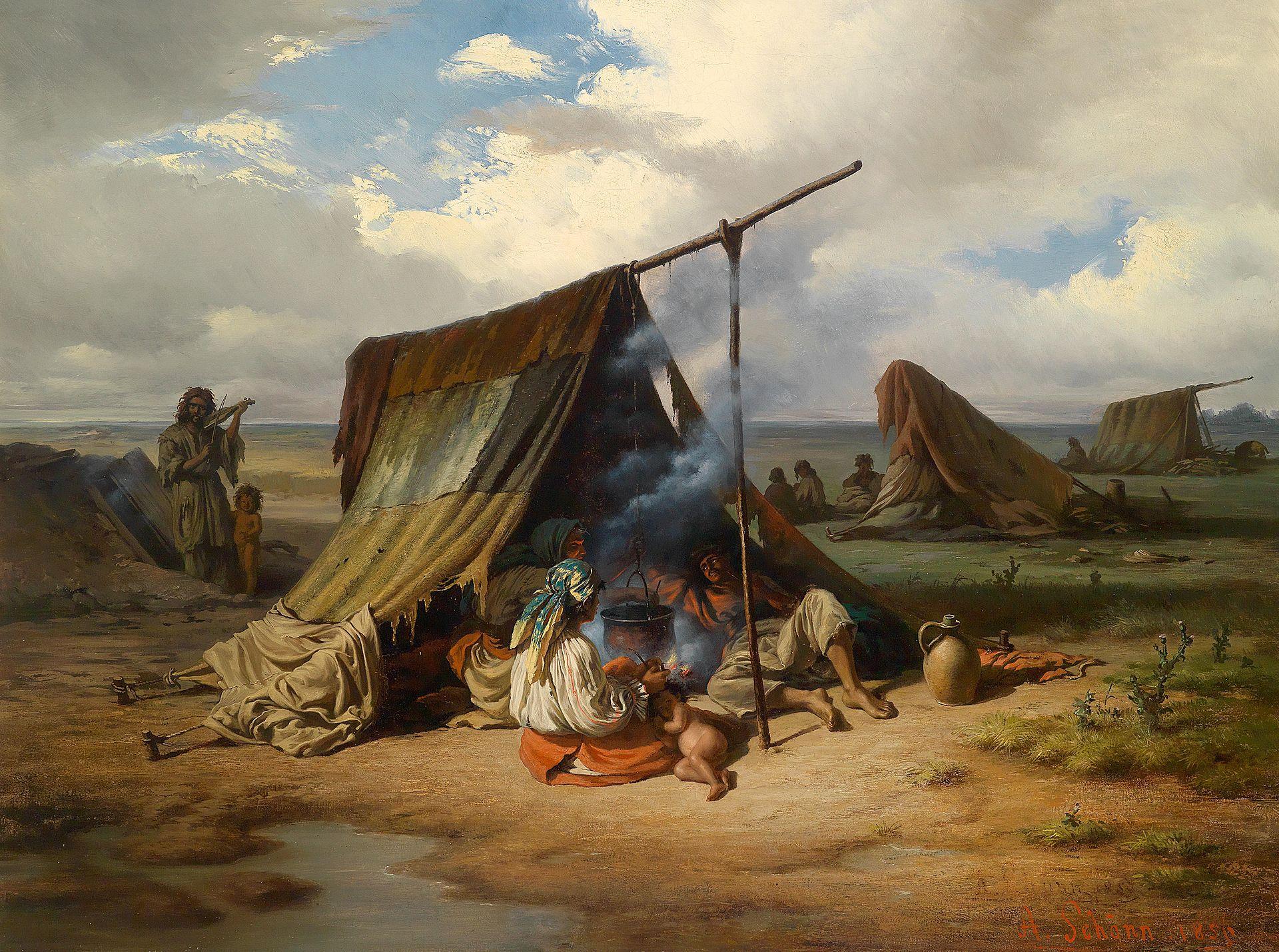 А. Шён «Лагерь цыган», 1856.