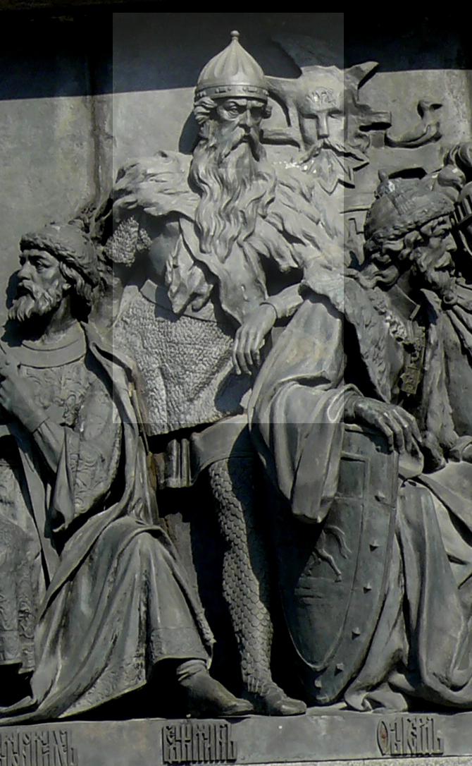 Гедимин на памятнике вВеликом Новгороде.