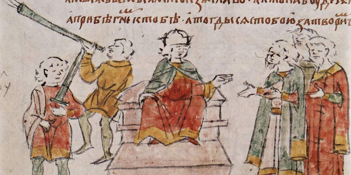 Юный Ярослав совещается с галицкими боярами. <br>