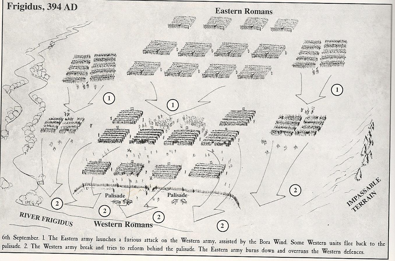 Схема сражения на реке Фригид. <br>