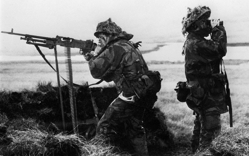 11 Soldiers on air defence duty at Bluff Cove on the Falkland Islands ready for Argentine air attack.jpg