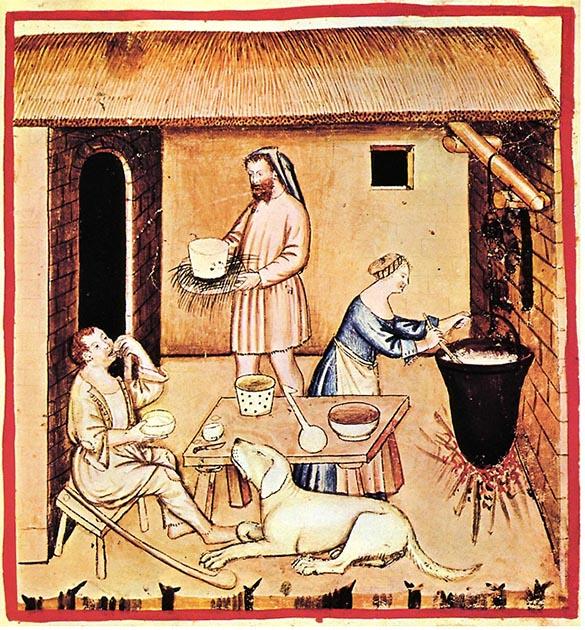 Изготовление сыра, XIV век.jpg