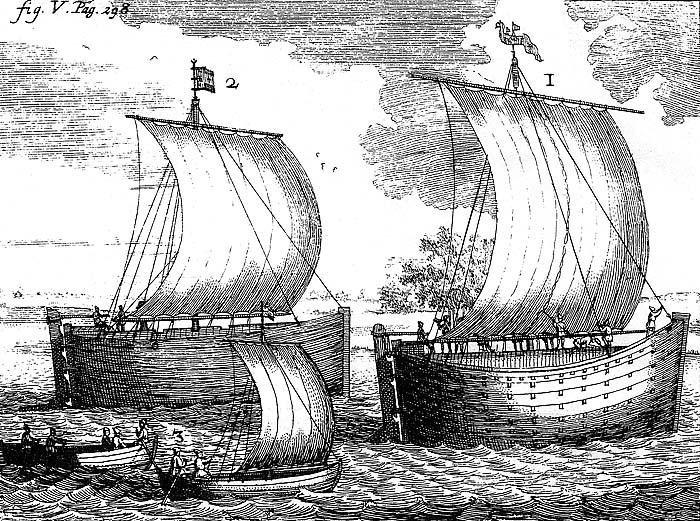 Фото 1. Бусы (высокобортные) и струги на Каспийском море. Из книги Н. Витсена Северная и Восточная Татария (Амстердам 1692).jpg
