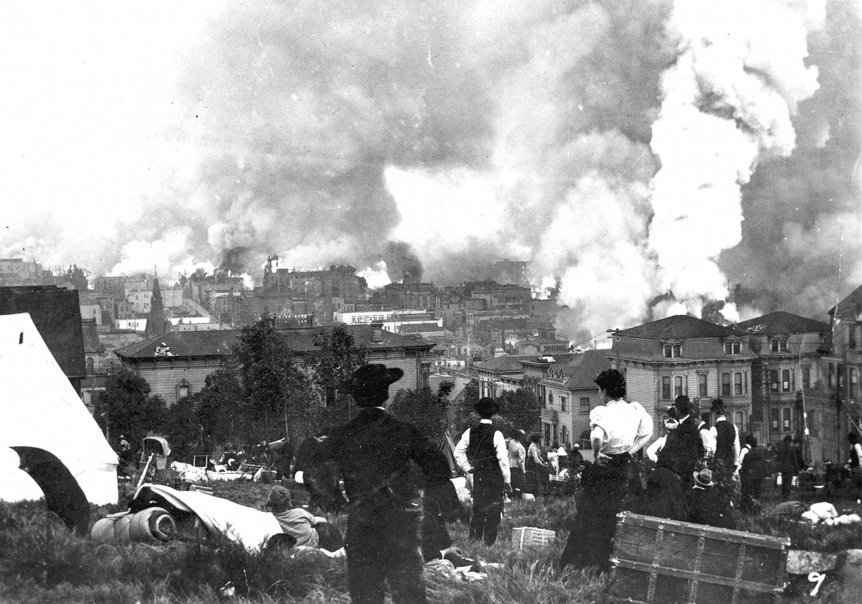 Market Street, San Francisco после землетрясения 1906 года ... | 1052x1500