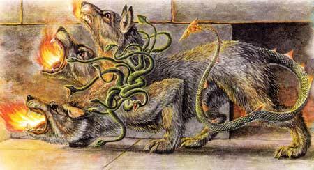 Цербер — многоглавый пес, страж врат Аида (6 фото)