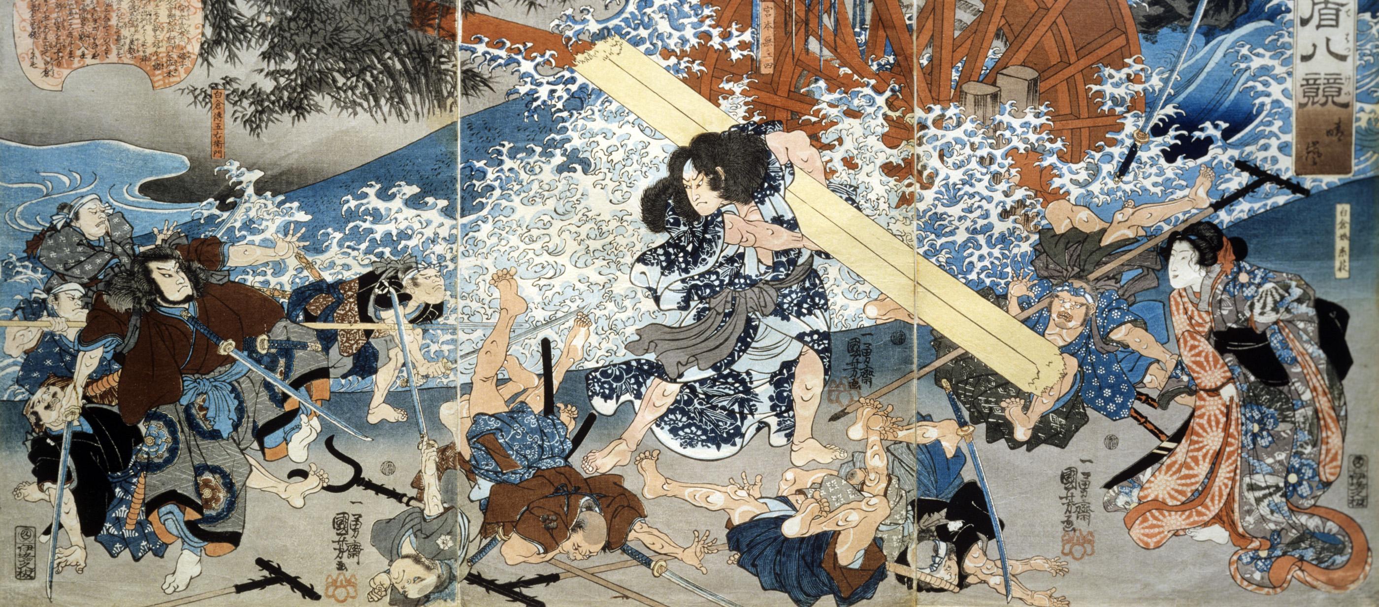 Мусаси крушит врагов, изображение 1838 г.  Источник: laphamsquarterly.org