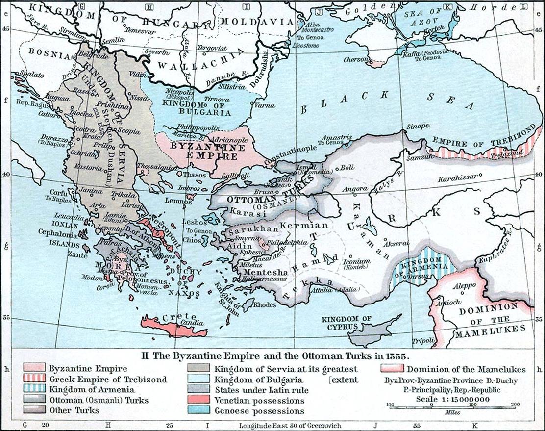 Византийская империя в 1355 году.