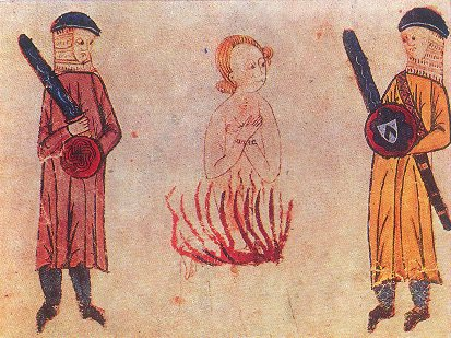 Сожжение «доброго человека», средневековая миниатюра. <br>