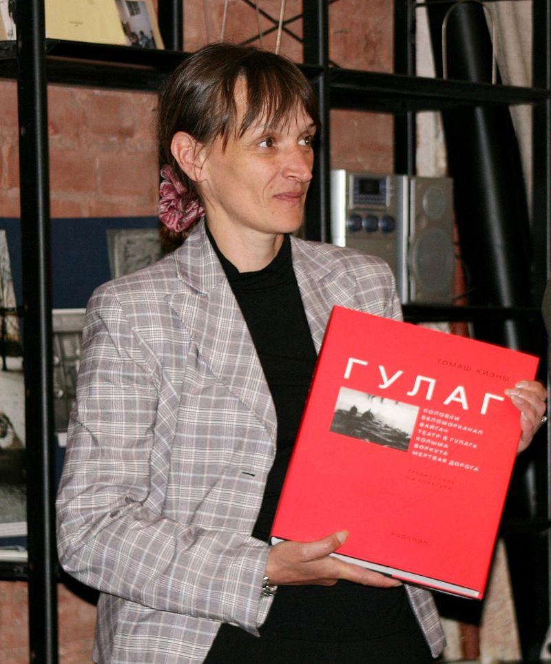 Ирина Флиге на презентации в&nbsp;офисе Санкт- Петербургского «Мемориала».  <br>