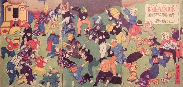 Карикатура того времени, показывающая борьбу новых и старых порядков.