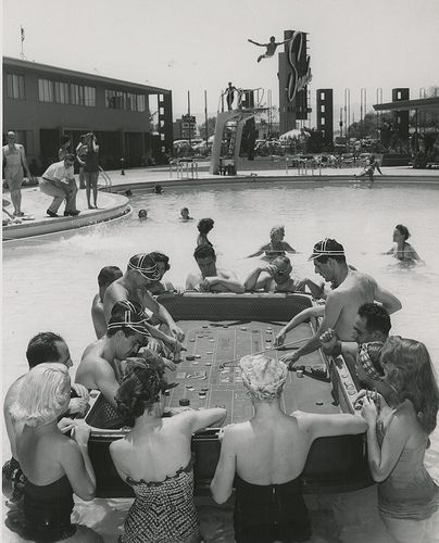 13 Photograph of a floating craps game in the Sands Hotel swimming pool (Las Vegas) 1954.jpg
