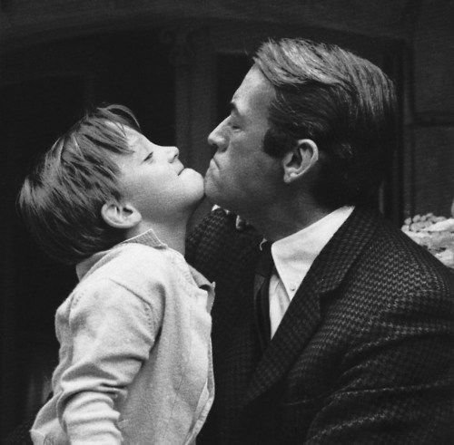 15 Gregory Peck and his son on the set of To Kill A Mockingbird 1961.jpg