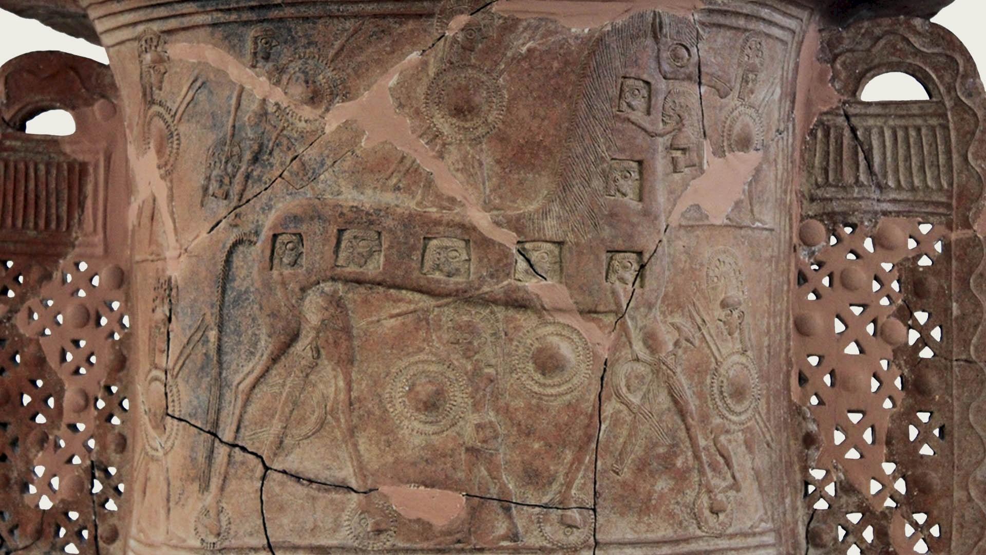 Троянский конь на пифосе с&nbsp;Миконоса. <br>