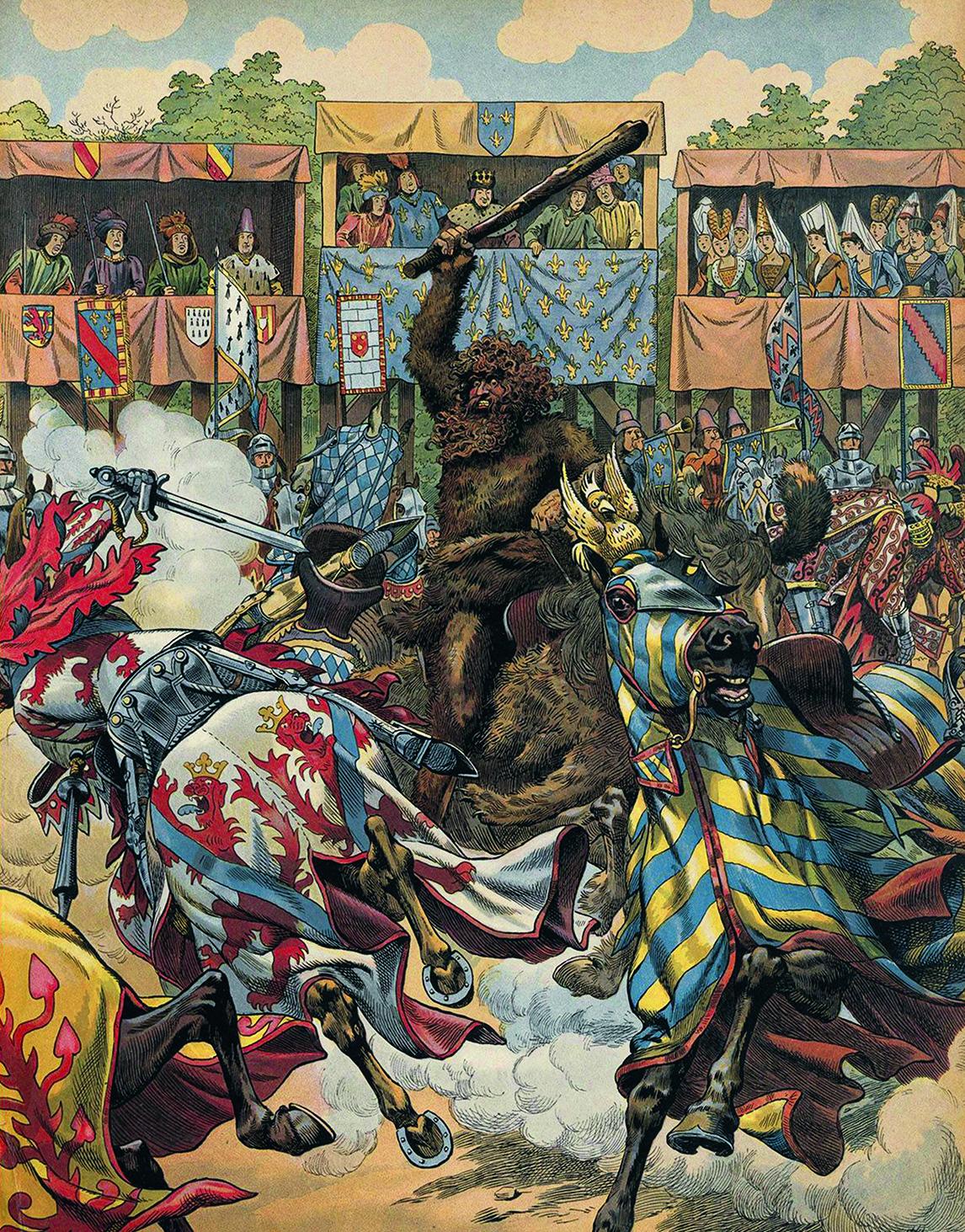 Амбал сражается с рыцарями.