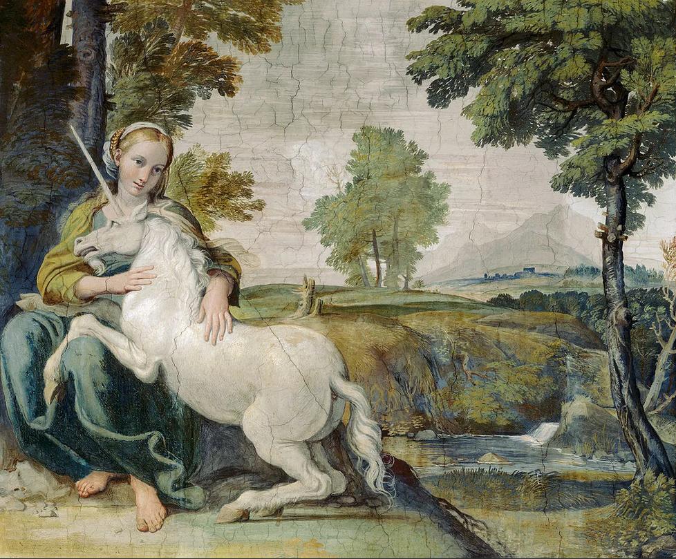 «Девушка и единорог», фреска вПалаццо Фарнезе.