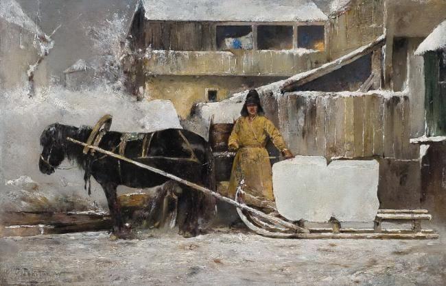 Похитонов И. П. Заготовка льда, 1900.