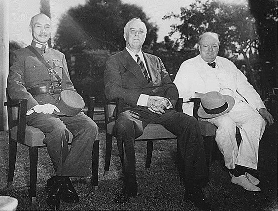 12 Generalissimo Chiang Kai-shek Franklin D. Roosevelt and Winston Churchill meeting at the Cairo Conference in 1943..jpg