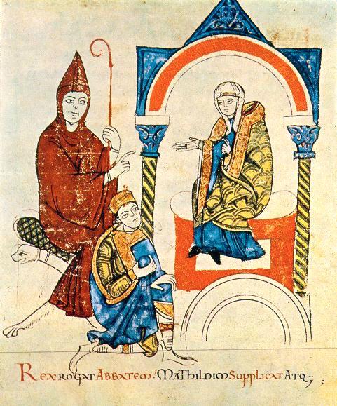 Генрих обращается к Матильде Тосканской иГуго Клюнийскому.