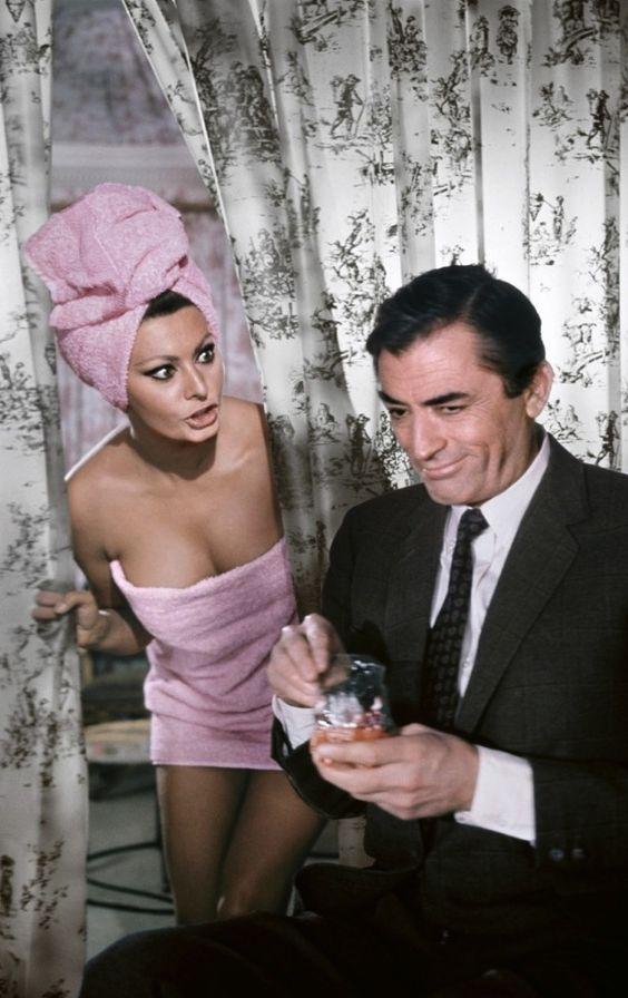26 Sophia Loren and Gregory Peck for Arabesque directed by Stanley Donen 1966.jpg