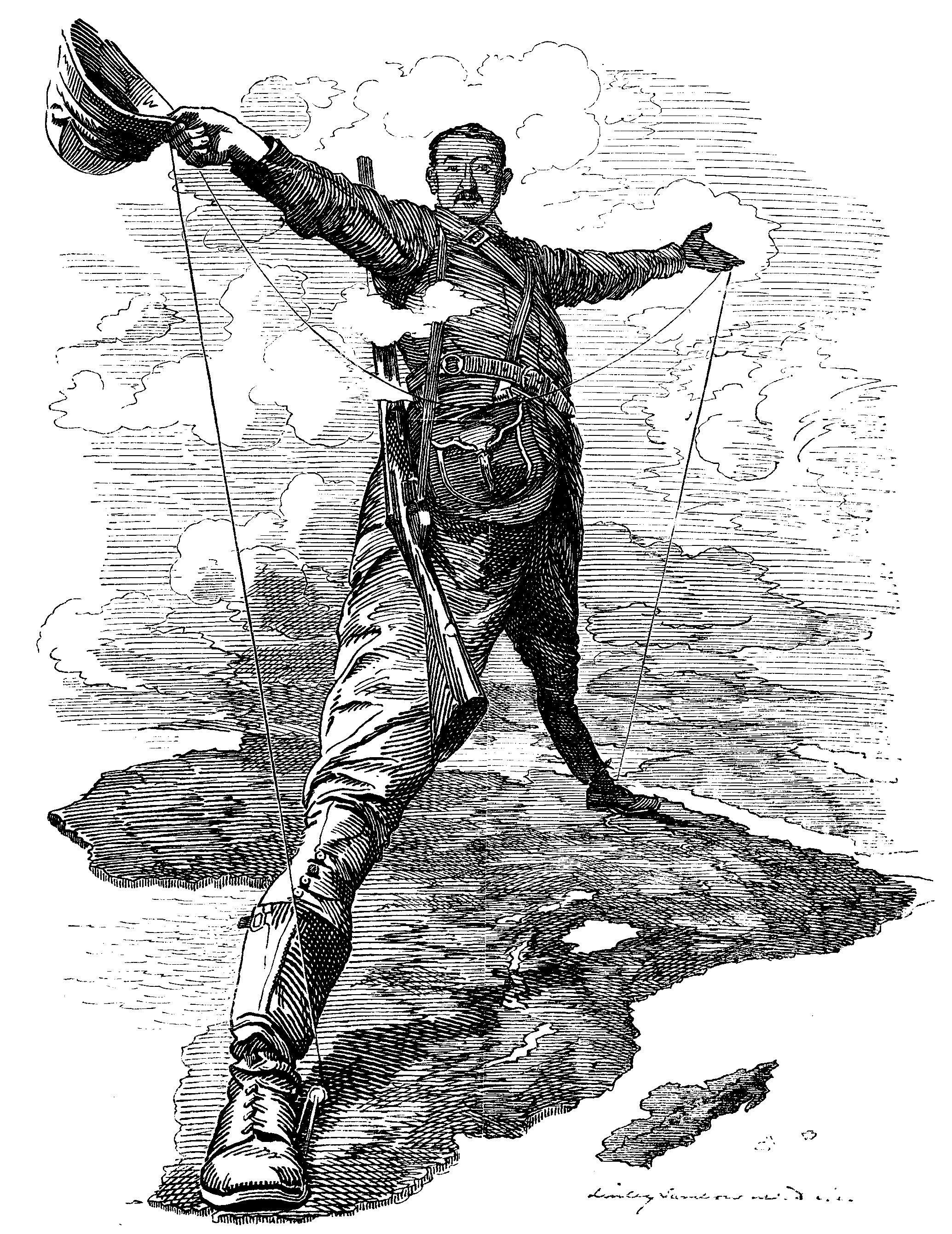 Карикатура на грандиозные планы Родса. Журнал «Punch». 1892.