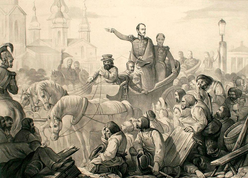 Николай I усмиряет народ вПетербурге, 1831г.