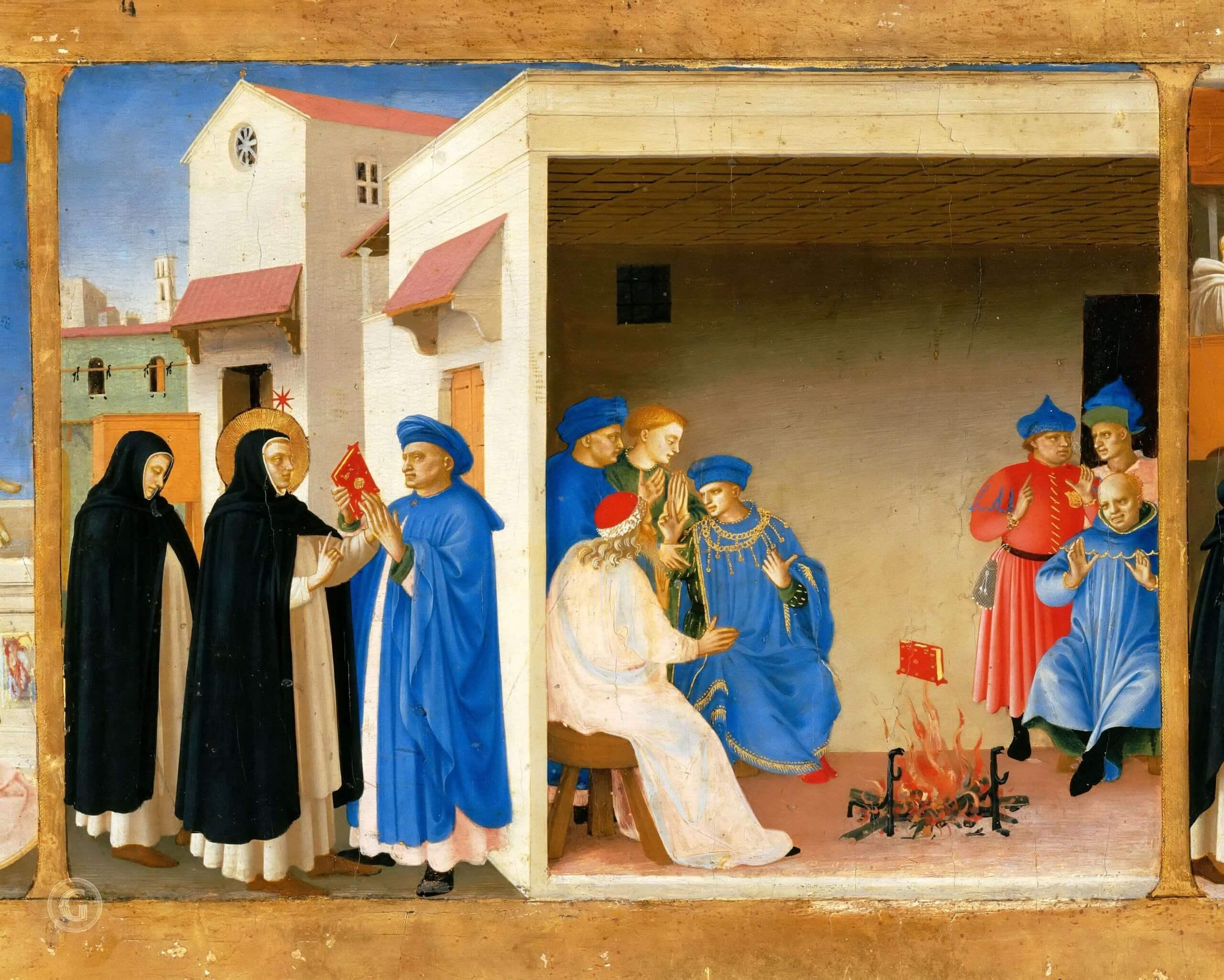 Фра Беато Анджелико. Проповедь св. Доминика иЧудо скнигой, 1435г.