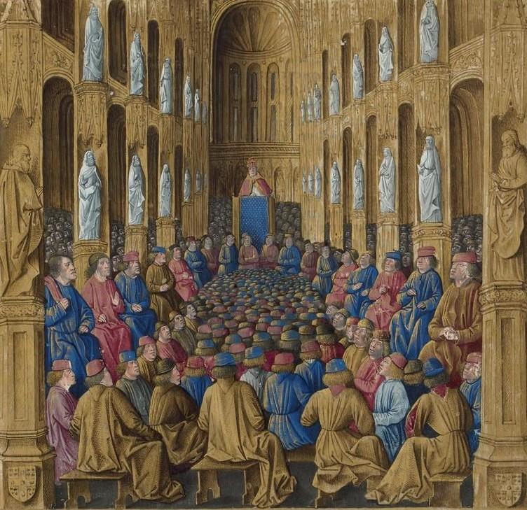 Папа Урбан II во главе Клермонского собора, миниатюря, ок. 1474 года.jpg