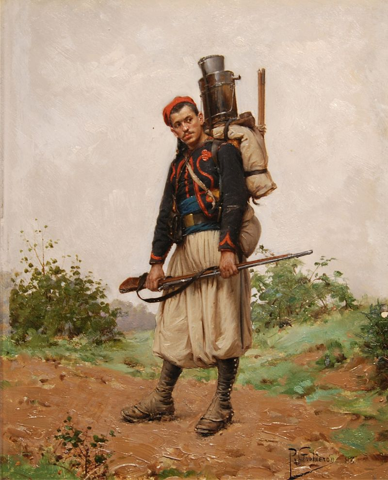 Французский зуав, ок. 1870. Зуавы — лёгкая, храбрая и страшная в бою пехота колониальных войск Франции. Нанимались по контракту.jpg