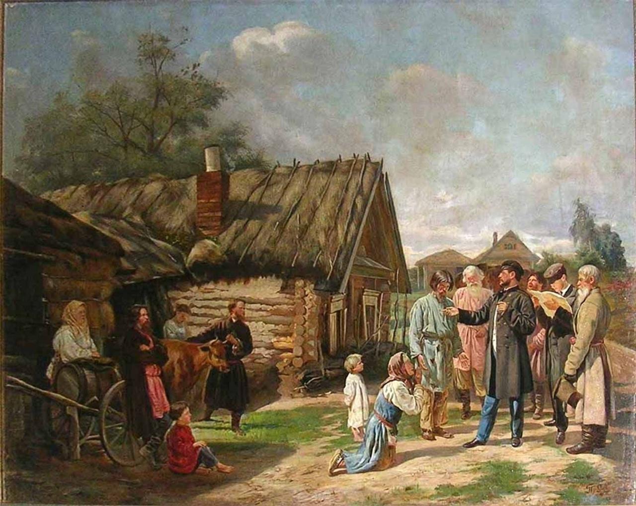 Сбор недоимок. Худ. В. В. Пукирев, 1875.