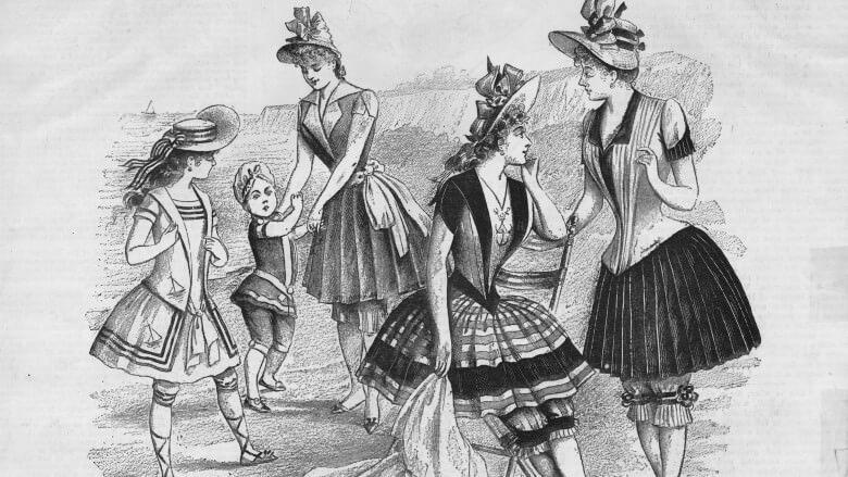 Девушки в купальниках времён правления королевы Виктории.