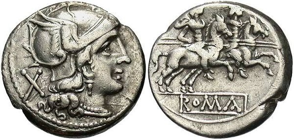 Серебряный денарий, после 211 г.&nbsp;до н. э. <br>