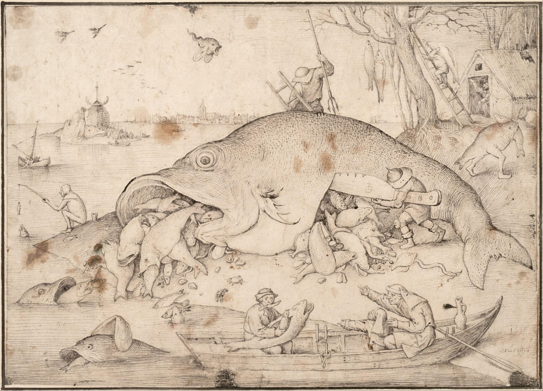 «Большие рыбы поедают малых», гравюра с картины Брейгеля. <br>
