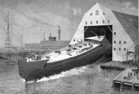 Спуск на воду броненосного крейсера «Мэн». <br>