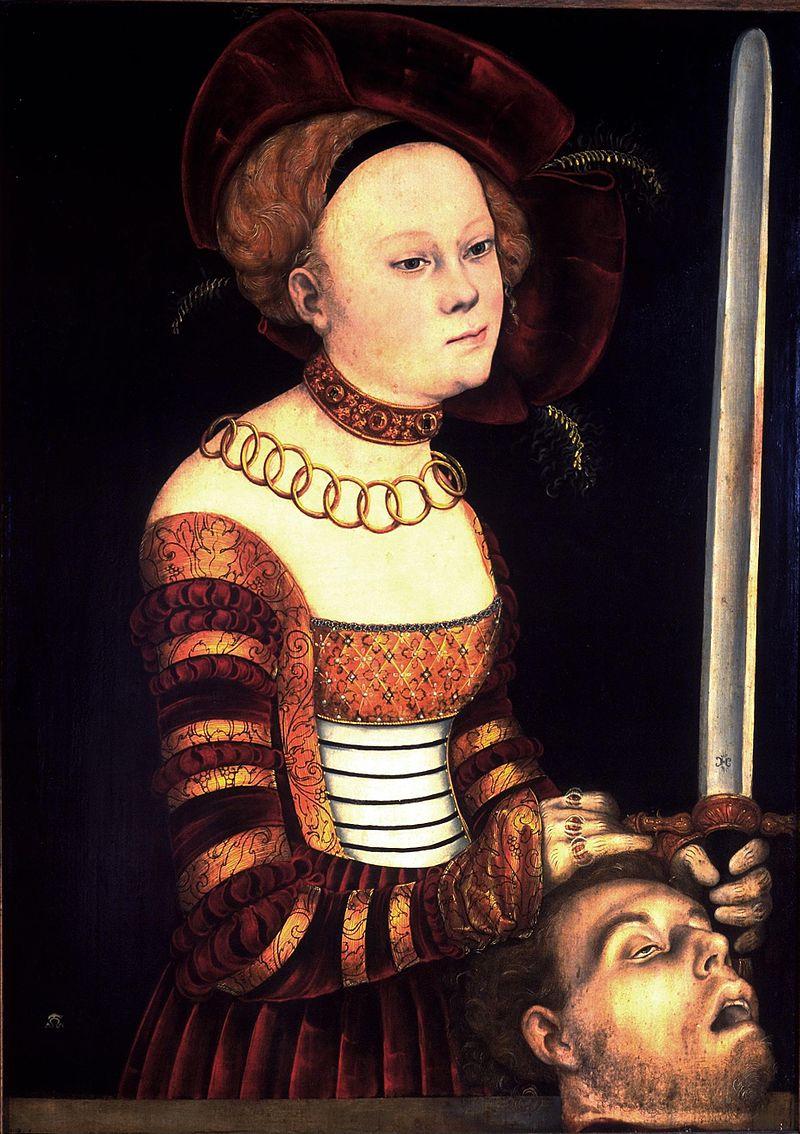 35 Ганс Кранах Портрет дамы при дворе саксонского как Юдифь с головои Олоферна.jpg