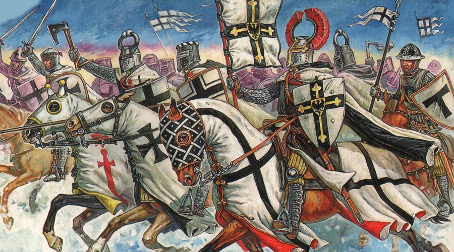 Рыцари Тевтонского ордена в атаке.