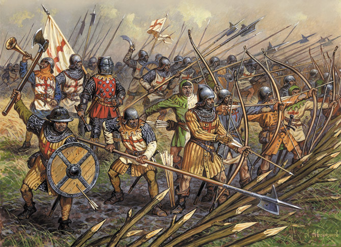 Английские лучники в битве при Креси. <br>