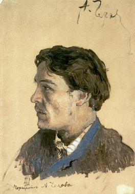 Портрет Чехова работы Левитана. <br>