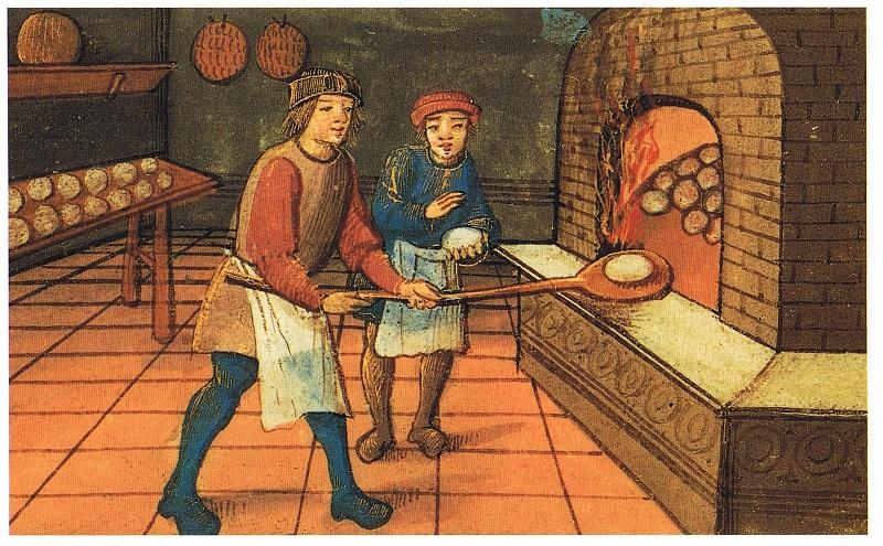 В средневековой пекарне.