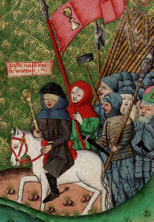Ян Жижка ведёт войска, средневековая гравюра.